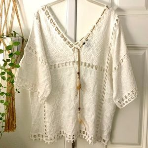 Boho Embroidered Top Native American Hippie Detail